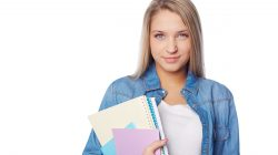 Isolated portrait of a student girl